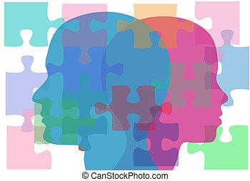 persone, coppia, problemi, soluzione, femmina, maschio, puzzle