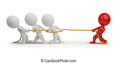 persone, -, corda, tirare, piccolo, 3d