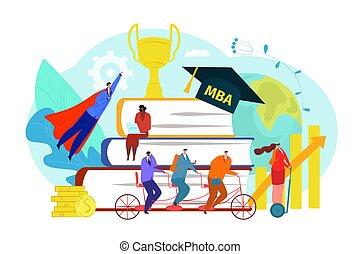 persone, corso, affari, vettore, successo, scuola, graduazione, illustration., carattere, uomo, mba, donna, università, studio, educazione, università, appartamento