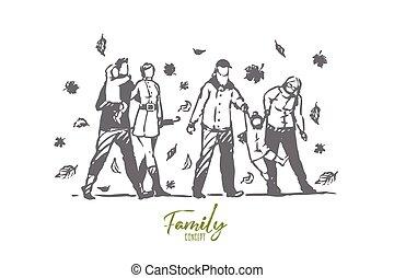 persone, disegnato, albero, isolato, concept., parco, vector., famiglia, mano, autunno