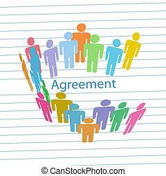 persone, ditta, accordo, contratto, consenso, incontrare