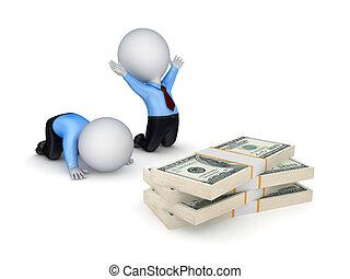 persone, dollaro, packs., 3d, piccolo