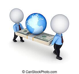 persone, dollaro, piccolo, 3d, earth., pacco