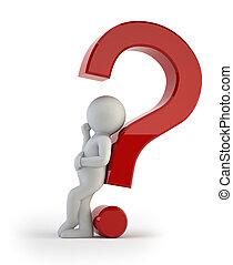 persone, -, domanda, complicato, piccolo, 3d