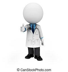 persone, dottore, 3d, bianco