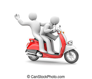 persone, due, illustrazione, moped., sentiero per cavalcate, 3d