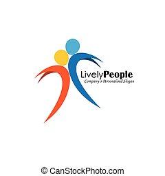 persone, due, saltare, vettore, joy., logotipo, icona