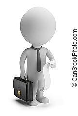 persone, elenco, -, piccolo, uomo affari, casi, 3d