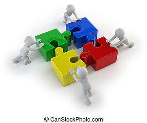 persone, -, enigmi, squadra, piccolo, 3d