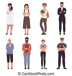 persone equipaggiano, incrocio, attraversato, professione, mani, set, torace, donna, braccia, differente