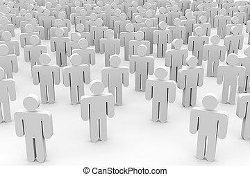 persone., folla, 3d