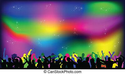 persone, fondo, festa, luci, discoteca