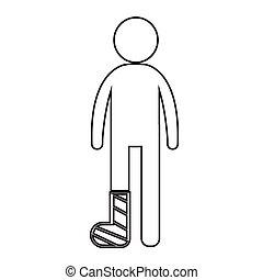 persone, gamba, illustrazione, rotto, disegno, braccio, icona