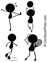 persone, gioco, silhouette, differente, sport