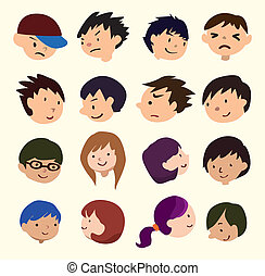 persone, giovane, icona, faccia, cartone animato