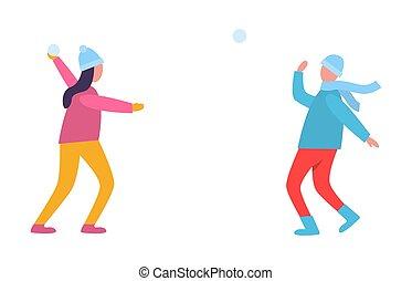 persone, giovane, illustrazione, vettore, palle neve, gioco