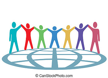 persone, globo, su, braccia, colori, mani, presa