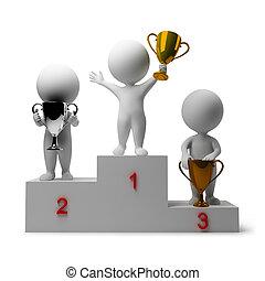 persone, -, gratificante, vincitori, piccolo, 3d