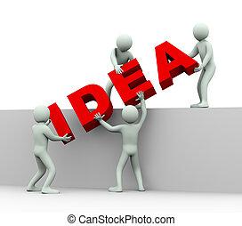 persone, -, idea, 3d, concetto