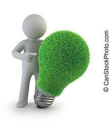 persone, -, idea, verde, piccolo, 3d