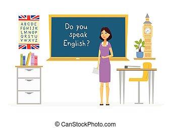 persone, -, illustrazione, cartone animato, caratteri, inglese, insegnante