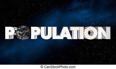 persone, illustrazione, pianeta, più, crescita, terra, mondo, popolazione, 3d