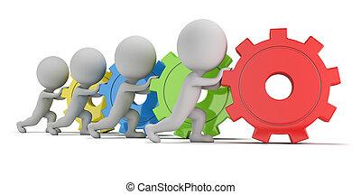 persone, -, ingranaggi, squadra, piccolo, 3d