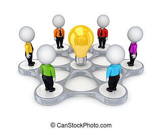 persone, intorno, simbolo., idea, 3d, piccolo