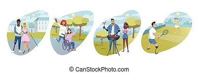 persone, invalido, concetto, ozio, sport, attività, riabilitazione, set