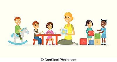 persone, -, isolato, illustrazione, asilo, caratteri, cartone animato