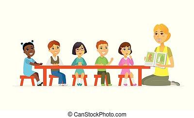 persone, -, isolato, illustrazione, asilo, caratteri, internazionale, cartone animato