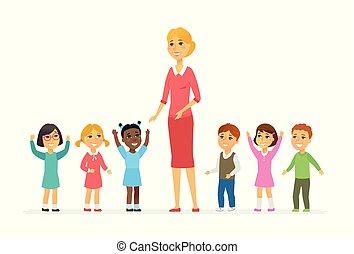 persone, -, isolato, illustrazione, bambini, asilo, caratteri, cartone animato, insegnante