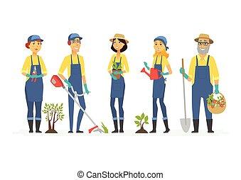 persone, -, isolato, illustrazione, caratteri, giardinieri, attrezzi, cartone animato