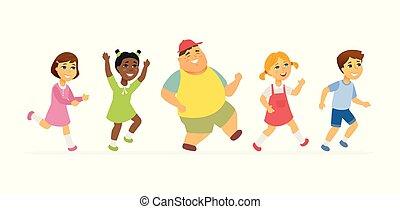 persone, -, isolato, illustrazione, cartone animato, caratteri, bambini, felice