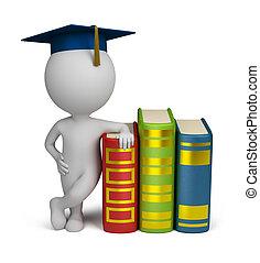 persone, -, laureato, libri, piccolo, 3d