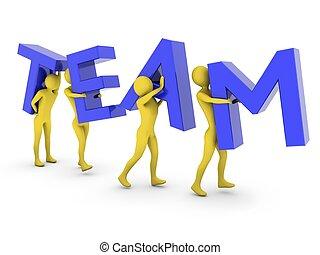 persone, lavorativo, portante, lettere, blu, insieme, squadra