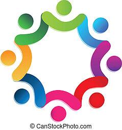 persone, lavoro squadra, carità, logotipo, vettore