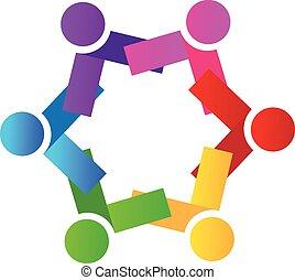 persone, lavoro squadra, logotipo, icona, vettore