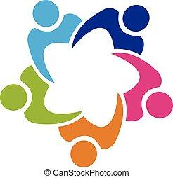 persone, lavoro squadra, unione, logotipo, 5