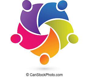 persone, lavoro squadra, unione, logotipo, vettore
