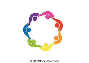 persone, lavoro squadra, unità, logotipo