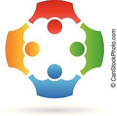 persone, lavoro squadra, vettore, gruppo, logotipo