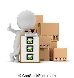 persone, lista, -, scatole, piccolo, 3d