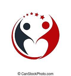 persone, logotipo, semplice, comunità, colorito, logo., concetto