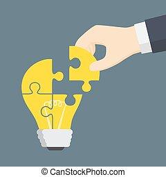 persone, luce, puzzle, mano, parte, mettere, bulbo