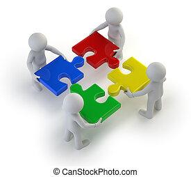 persone, mani, -, enigmi, squadra, piccolo, 3d