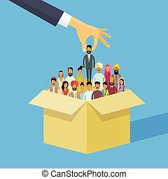 persone, mano, indiano, persona, folla, uomo, candidato, risorse, scegliere, scatola, india, affari donna, umano, reclutamento