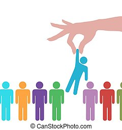 persone, mano, persona, linea, trovare, selezionare