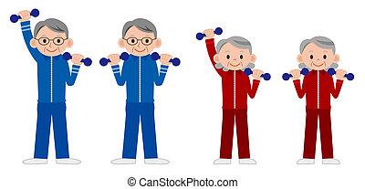 persone, maturo, liftin, gruppo, più vecchio