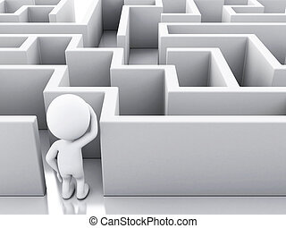 persone, maze., 3d, bianco